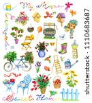 design set with garden objects  ... | Shutterstock . vector #1110683687