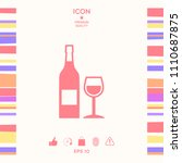 bottle of wine and wineglass... | Shutterstock .eps vector #1110687875