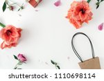 frame with flowers amaryllis...   Shutterstock . vector #1110698114