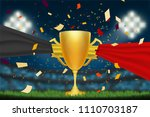 trophy cup with belgium flag on ... | Shutterstock .eps vector #1110703187