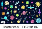 space doodles set. astronomy.... | Shutterstock .eps vector #1110705107