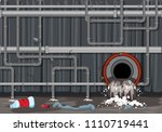 waste pipe system and water... | Shutterstock .eps vector #1110719441