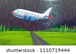an airplane flying in... | Shutterstock .eps vector #1110719444