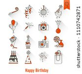 happy birthday icons set.... | Shutterstock .eps vector #1110742871
