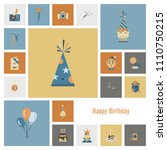 happy birthday icons set.... | Shutterstock .eps vector #1110750215