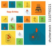 happy birthday icons set.... | Shutterstock .eps vector #1110750221