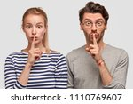 amazed european female and male ... | Shutterstock . vector #1110769607