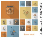 set of flat autumn icons.... | Shutterstock .eps vector #1110770885