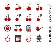 cherry icon set | Shutterstock .eps vector #1110774377