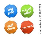 set of round stickers for retail | Shutterstock . vector #111077621