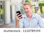 closeup portrait  young happy... | Shutterstock . vector #1110789194