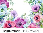 anemone flowers. illustration... | Shutterstock . vector #1110792371