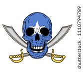 pirate skull with cross swords... | Shutterstock .eps vector #1110794789