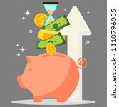 pig piggy bank with savings... | Shutterstock .eps vector #1110796055
