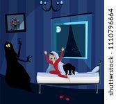boy scares of the night monster   Shutterstock .eps vector #1110796664
