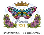 golden crown  butterflies... | Shutterstock .eps vector #1110800987