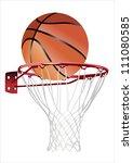 basketball hoop and ball ... | Shutterstock . vector #111080585