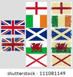 Great Britain Flags. Grunge...