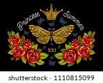 golden crown  butterflies... | Shutterstock .eps vector #1110815099