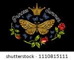 golden crown  butterflies... | Shutterstock .eps vector #1110815111
