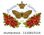 golden crown  butterflies... | Shutterstock .eps vector #1110815114