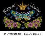 golden crown  butterflies... | Shutterstock .eps vector #1110815117
