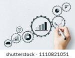 hand drawing creative cogwheel...   Shutterstock . vector #1110821051
