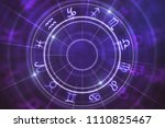 abstract purple zodiac wheel... | Shutterstock . vector #1110825467
