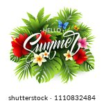 summer poster with tropical... | Shutterstock .eps vector #1110832484