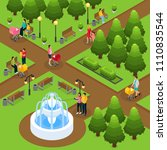 isometric people in public park ... | Shutterstock .eps vector #1110835544