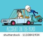 motorbike hit private car... | Shutterstock .eps vector #1110841934