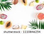 summer fruits. tropical palm... | Shutterstock . vector #1110846254