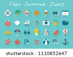 flat summer vacation icons set... | Shutterstock .eps vector #1110852647