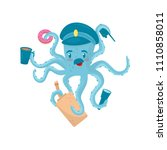 funny blue octopus with... | Shutterstock .eps vector #1110858011