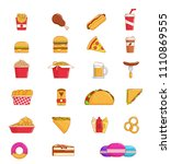 fast food thin line icon set of ... | Shutterstock .eps vector #1110869555