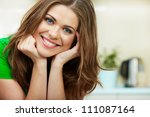 close up woman face against... | Shutterstock . vector #111087164