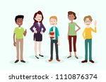 young people with gadgets ... | Shutterstock .eps vector #1110876374