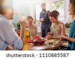 multi ethnic group of friends... | Shutterstock . vector #1110885587