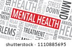 mental health word background | Shutterstock .eps vector #1110885695