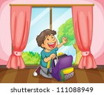 illustration of a boy with a... | Shutterstock . vector #111088949