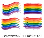 bright rainbow flags set. lgbt... | Shutterstock .eps vector #1110907184