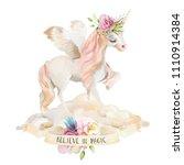 beautiful  cute  watercolor... | Shutterstock . vector #1110914384