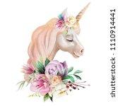 beautiful  cute  watercolor... | Shutterstock . vector #1110914441