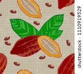 cocoa fruits and leaves. whole... | Shutterstock .eps vector #1110919529