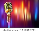 golden microphone on a bright... | Shutterstock .eps vector #1110920741
