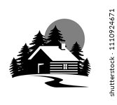 wood house in the hill  icons... | Shutterstock .eps vector #1110924671