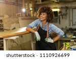 happy young woman working on... | Shutterstock . vector #1110926699