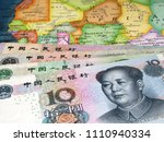 yuan on the map of africa.... | Shutterstock . vector #1110940334