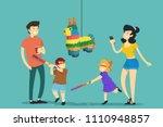 family. children hitting pinata....   Shutterstock .eps vector #1110948857