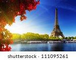 seine in paris with eiffel...   Shutterstock . vector #111095261